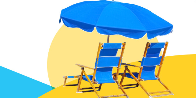beach lawn chairs, umbrella
