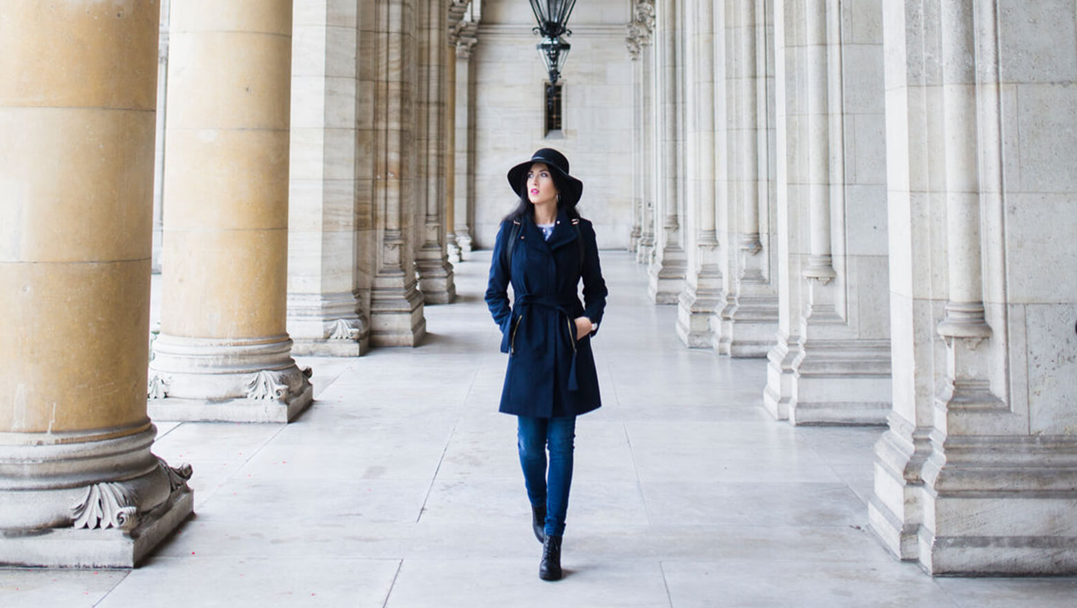 woman walking through city hall