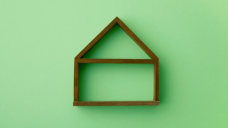 wooden house on green background