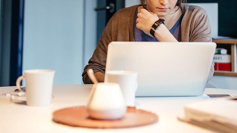 woman on laptop in office