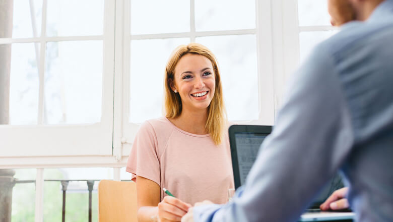woman at casual interview