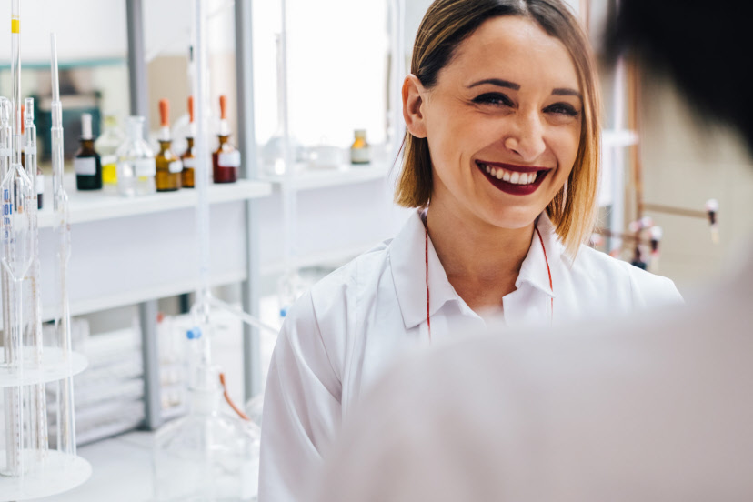 Adult, At work, Beautiful, Caucasian, Chemist, Chemistry, Doctor, Equipment, Female, Healthcare, Hospital, Lab, Laboratory, Lifestyle, Medical, Medicine, Pharmacist, Pharmacy, Pharmacy, Research, Science, Scientist, Short hair, Smile, Smiling, White, Woman, Work