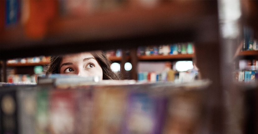 woman college student in library