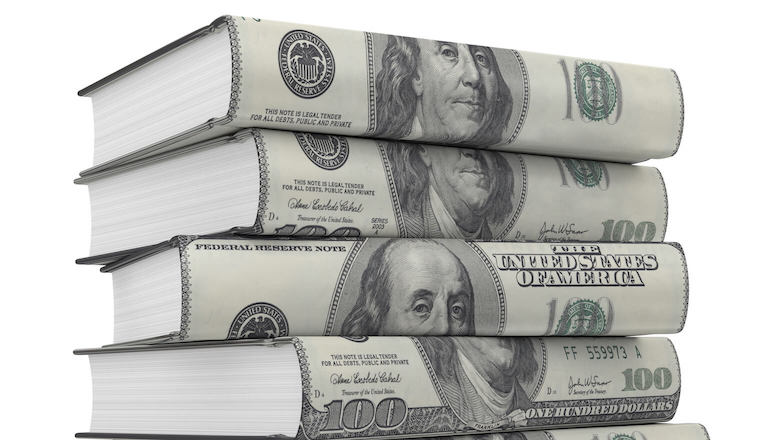 books covered in money