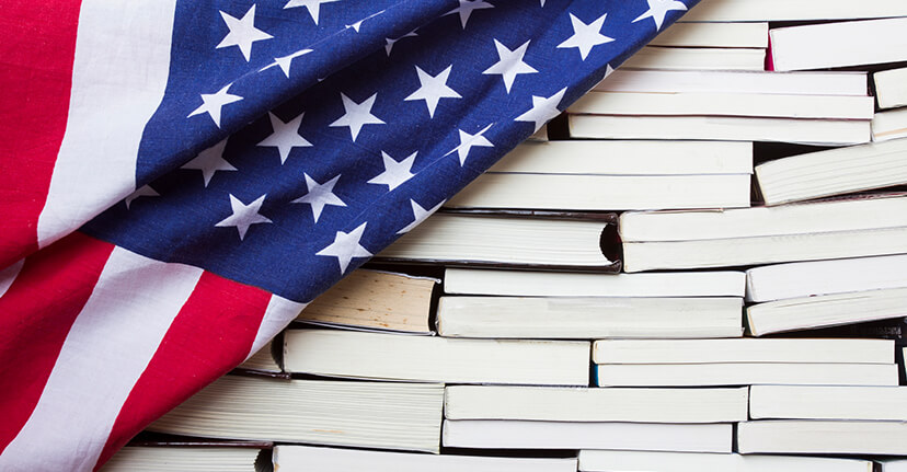 American flag with books