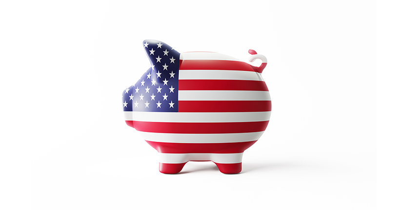 US flag piggy bank
