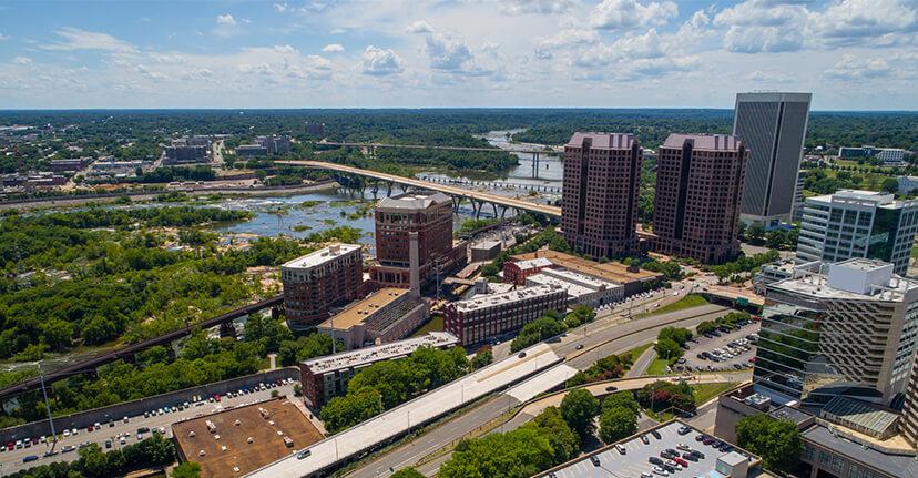 aerial view Richmond Virginia