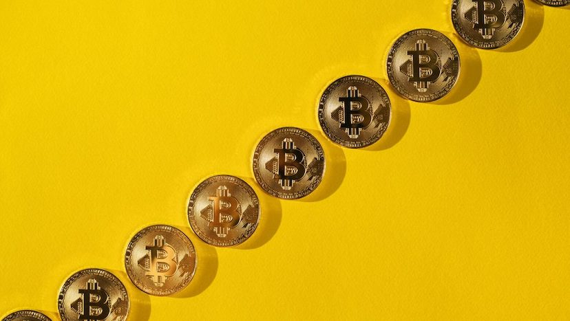 bitcoin on yellow background