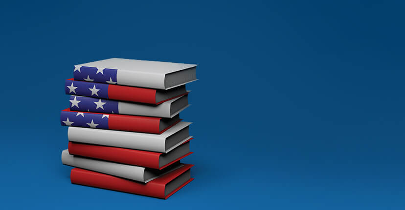 books with U.S. flag