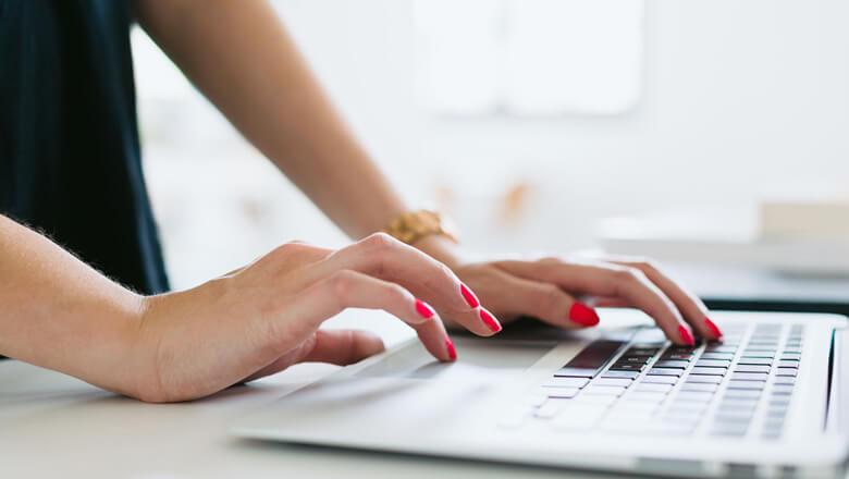 close up woman on laptop