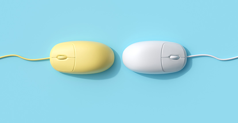 Yellow and white computer mice