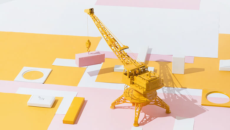 miniature yellow crane