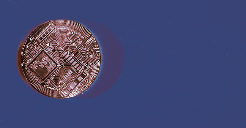 cryptocurrency on blue background