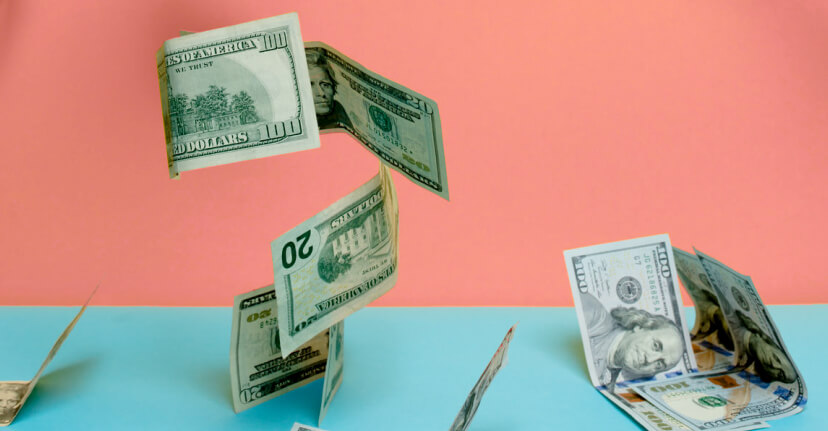 dollars on colored background