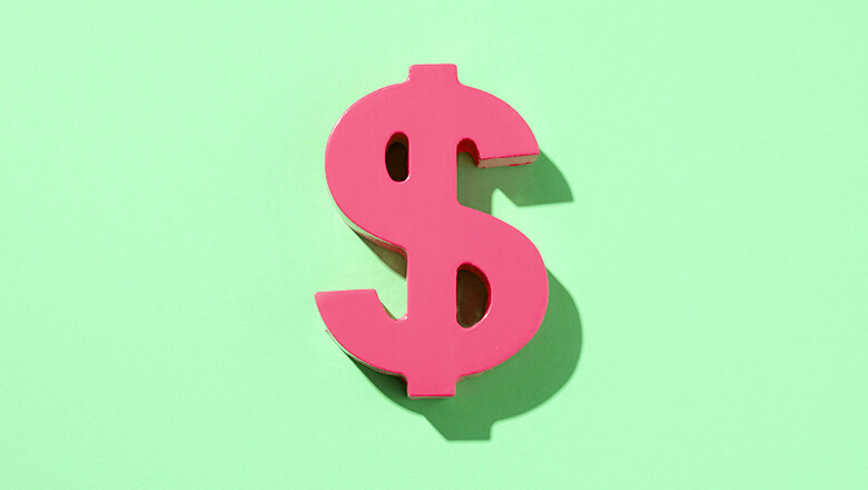 green background with pink dollar sign