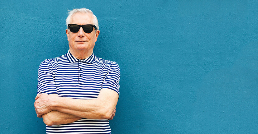 elderly man with sunglasses