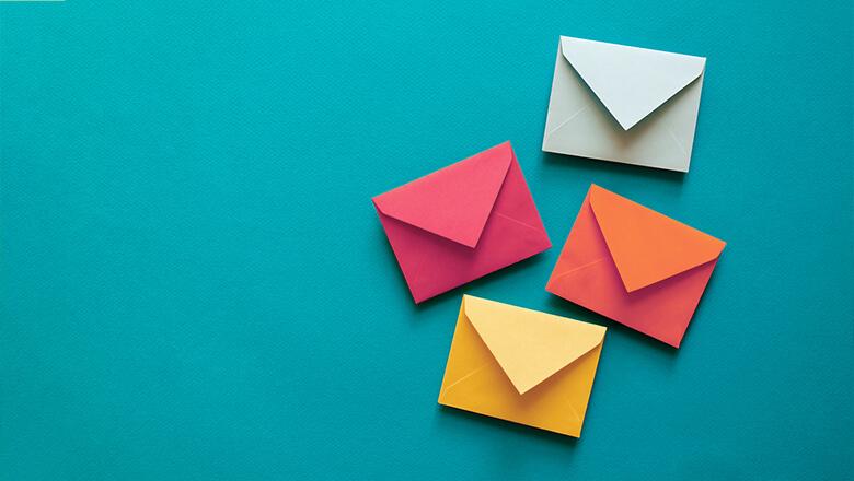 envelopes colored teal background