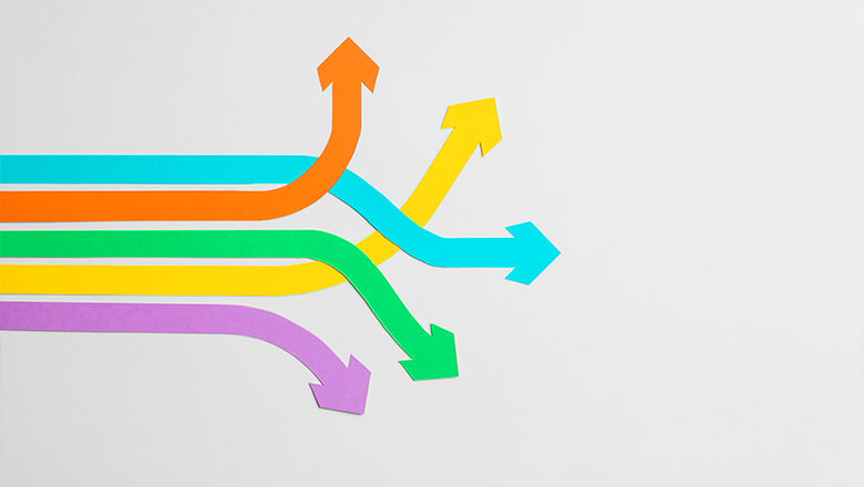 colorful arrows pointing in different directions mobile
