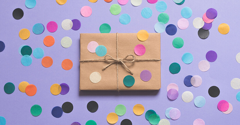 gift with confetti