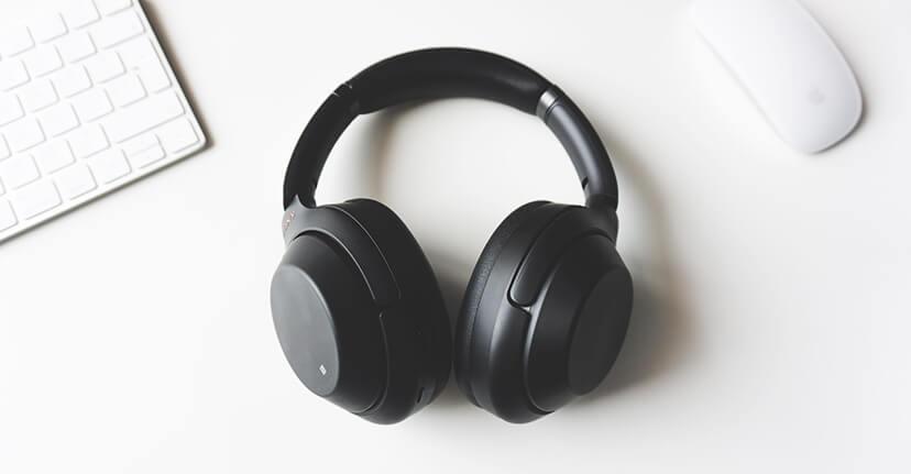 pair of headphones on desk