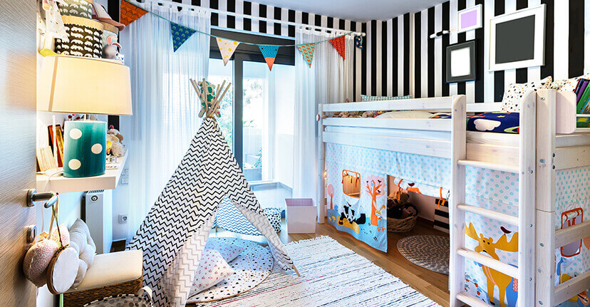 child's room with teepee