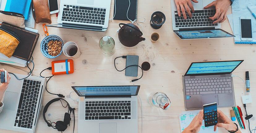 Laptops on desk