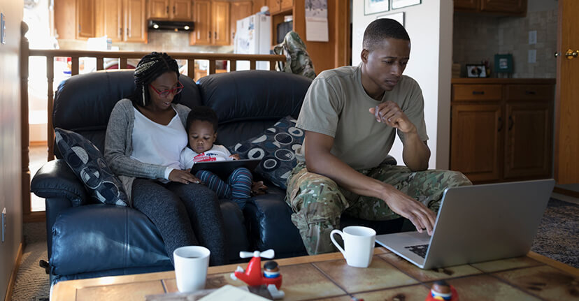 military family on laptop