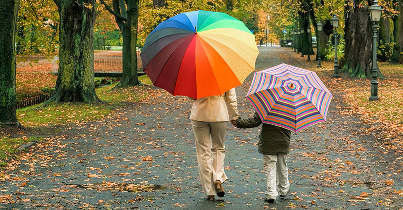 mother and child with umbrellas