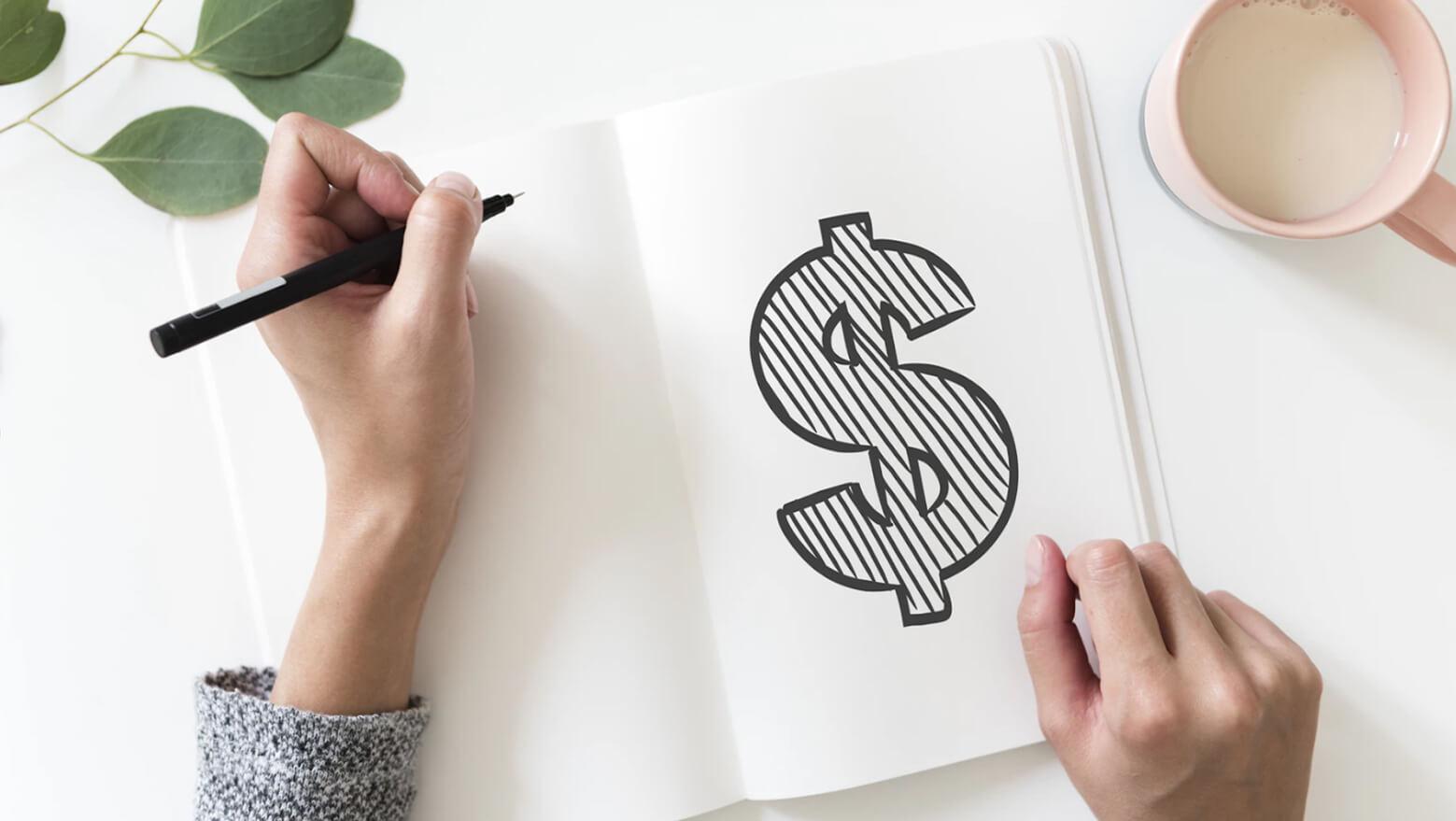 notebook dollar sign