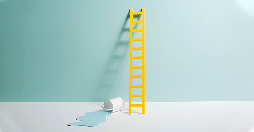ladder and paint can