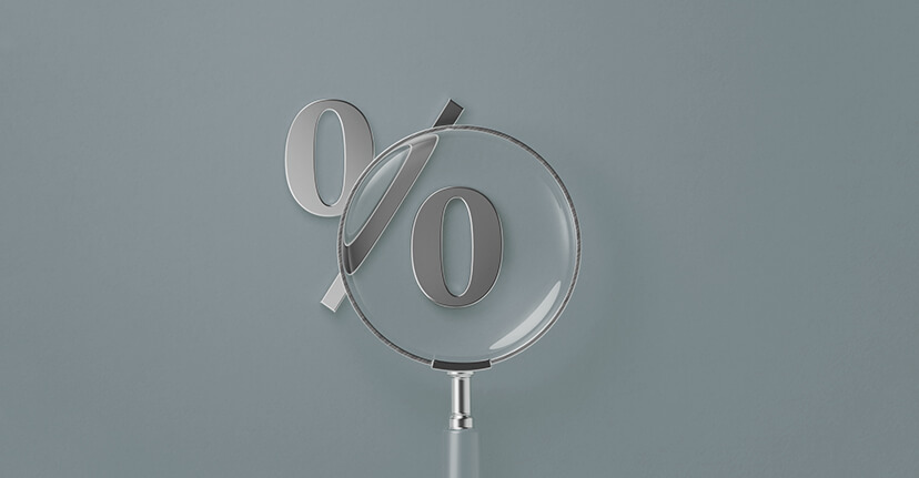 percentage sign with magnifying glass