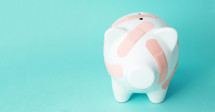 piggy bank with band-aids