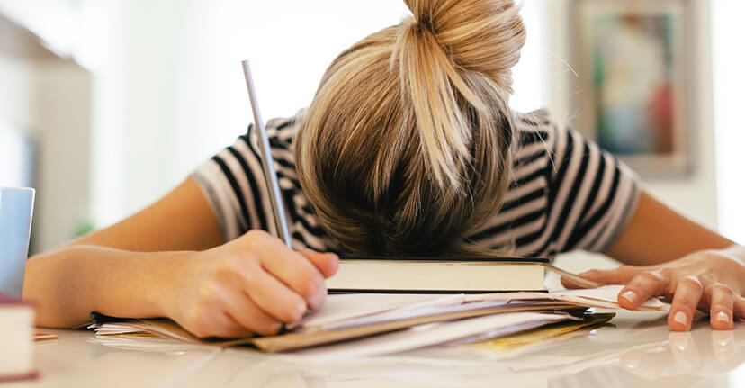 student stressed studying