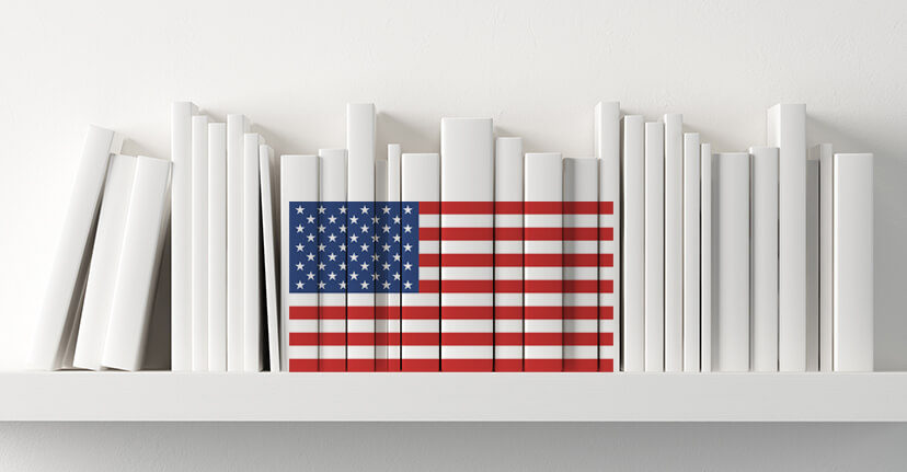books with American flag on spine